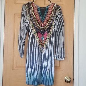 NWT Bejeweled Design Zebra print dress
